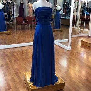 Sapphire blue strapless formal dress